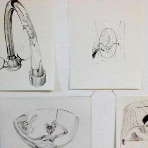 Série de dessins contemporains. Autoportaits en reflet.